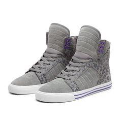 SUPRA WMNS SKYTOP Shoe | GREY / CHEETAH PRINT - WHITE | Official SUPRA Footwear Site
