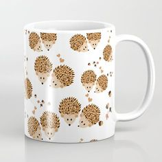 Hedgehogs In Autumn Coffee Mug by Vanessagf - 11 oz Hedgehog Pet, Cute Hedgehog, Hedgehog Tattoo, Hedgehog Craft, Hedgehog House, Hedgehog Accessories, Tassen Design, Coffee Cups, Tea Cups