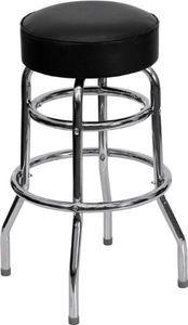Flash Furniture FD-D-100-GG Double Ring Chrome Bar Stool with Black Vinyl Swivel Seat