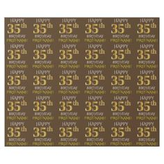 "Brown Faux Gold ""HAPPY 35th BIRTHDAY"" Wrapping Paper - birthday gifts party celebration custom gift ideas diy"