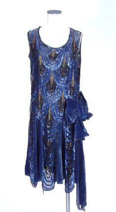 A blue velvet sequinned 1920's dress