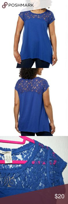 DKNY Cobalt Lace & Knit Top NWT The rich cobalt blue and feminine lace detail make this DKNY top truly beautiful! It's soft and comfortable, and the slight sharkbite style hemline makes it drape very flattering. The fabric is 60% cotton and 40% modal. The lace is 70% cotton and 30% nylon. DKNY Jeans Tops Tees - Short Sleeve
