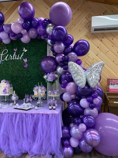 Purple Birthday Decorations, Sweet 16 Party Decorations, Girl Baby Shower Decorations, Balloon Decorations Party, Balloon Garland, 15th Birthday Party Ideas, Birthday Parties, Butterfly Birthday Party, Purple Balloons