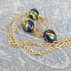 Venetian Glass with Gold Aqua Cobalt Beads and Gold Plate