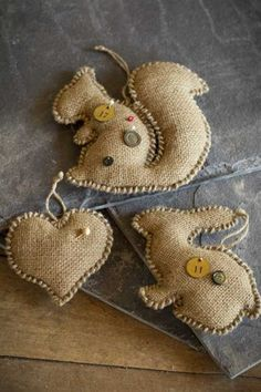 Hand Stitched Burlap Ornaments by Vagabond Vintage---I could do this easily. just a blanket stitch around the edge :)