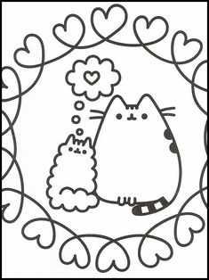 Pusheen 66 Printable coloring pages for kids Online Coloring Pages, Cute Coloring Pages, Printable Coloring Pages, Coloring Pages For Kids, Coloring Books, Pusheen Cat, Kawaii Doodles, Watercolor Drawing, Embroidery Patterns