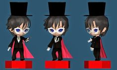 Papermau: Sailor Moon - Tuxedo Mask Paper Toy In Chibi Style - by Paper Mike