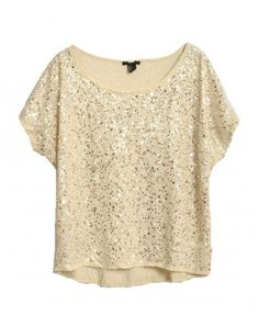 Batwing Sleeves T-shirt Top with Allover Sequin Embellishment