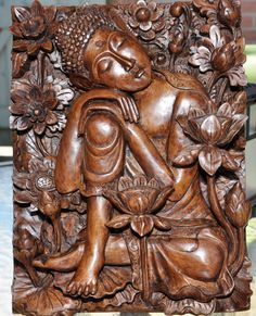 Sublime Buddha.  Wood carved relief by Nyoman by SumertaDesigns, $650.00