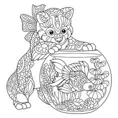 Coloring page of kitten wondering about goldfish in aquarium. Freehand sketch drawing for adult antistress colouring book with doodle and zentangle elements.Tap the link to check out great cat products we have for your little feline friend! Free Adult Coloring Pages, Mandala Coloring Pages, Animal Coloring Pages, Coloring Book Pages, Printable Coloring Pages, Fish Coloring Page, Fairy Coloring, Kids Coloring, Zen Colors
