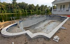 One disadvantage of gunite pools is that they can take weeks or even months to install. By contrast, fiberglass swimming pools can be installed in a matter of days. Swimming Pool Construction, Fiberglass Swimming Pools, Gunite Pool, Contrast, Patio, Outdoor Decor, Projects, Pictures, House