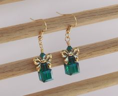 Swarovski crystal gift box earrings by ParkhillDesigns on Etsy
