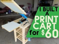 I found a perfect (and cheap) way to make an awesome printing cart for a table top screen printing press. Screen Printing Press, Cheap Screen Printing, Screen Printing Shirts, Diy Printing, Screen Printing Supplies, Screen Printing Equipment, Silkscreen, Start Screen, Diy Shops