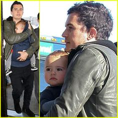 Orlando Bloom in his ERGObaby with Flynn - March 5, 2012