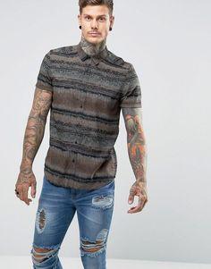 ASOS Regular Fit Viscose Vintage Print Shirt - Brown