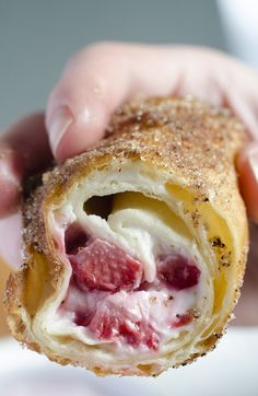Strawberry Cheesecake Chimichangas - OMG Chocolate Desserts