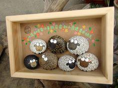 手绘羊 可爱 好多羊 石趣部落原创手绘石头画 创意 生日-淘宝网全球站
