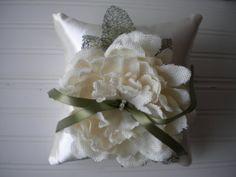 Cream Burlap Rose Ring Bearer Pillow by DaniCalve on Etsy, $35.00