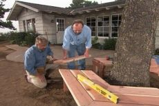 How to build a bench around a tree. I need this once my tree in my front yard gets planted. Also in my back yard but the ground isn't flat black there