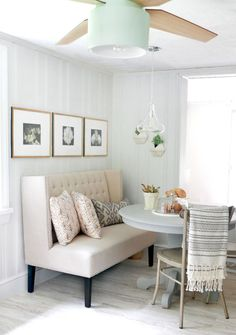 Dining area layout with bench