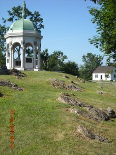 Antietam National Battlefield (Sharpsburg, MD) -Maryland Monument and Dunker Church-    Antietam was the site of the bloodiest day of combat in American history