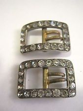 ANTIQUE GEORGIAN VICTORIAN PAIR FRENCH SOLID SILVER PASTE BREECH BUCKLES