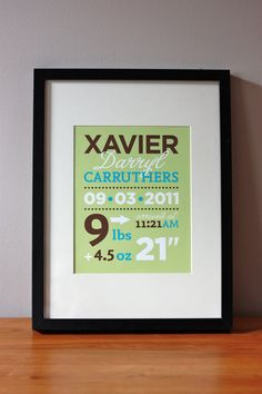 Baby Birth Announcement wall art for nursery  by MarsDesignStudio, $22.00