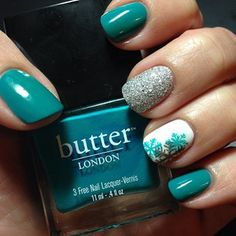 Fun snowflake mani.  Colors used: Butter London Slapper, OPI It's Frosty Outside, and Julep Nicolette.  Stamping Plate used: Winstonia W120 #nails #notd #butterlondon #opi #julep #mymaven #winstonia