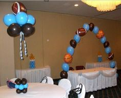 Sports themed baby shower except lime green and baby blue(: