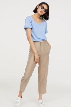 Slub Jersey T-shirt - Light blue - Ladies Blue Shirt Outfits, Brown Pants Outfit, Casual Outfits, Fashion Outfits, Kakis, Baby Blue Shirt, Light Blue Pants, Fashion Week, Clothes For Women