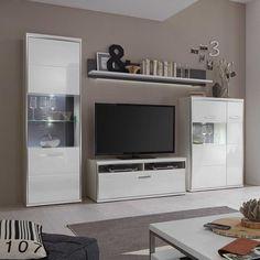 TV Anbauwand In LED Beleuchtung Hochglanz Weiss 4 Teilig Jetzt Bestellen Unter