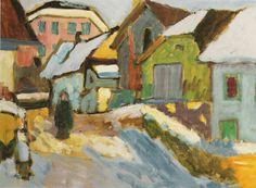 ۩۩ Painting the Town ۩۩  city, town, village & house art - Gabriele Münter:  Hof im Schnee (1911)