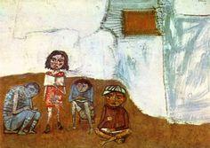 Obra de Berni - Juanito Laguna aprende a leer, 1961.