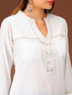 Buy Ivory Embroidered Yoke Cotton Kurta Apparel Tunics & Kurtas Online at Jaypore.com