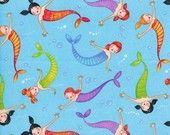 Kate Honarvar Mermaids Blue Fabric - By the Yard