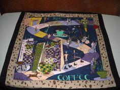 Vintage Nicole Miller Caffeine Buzz Coffee Theme Small Square Silk Scarf