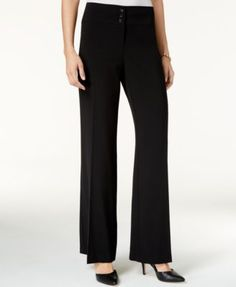 Style & Co Stretch Wide-Leg Pants, Only at Macy's - Black 18S
