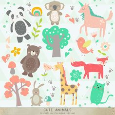 INSTANT DOWNLOAD Cute Animals Cliparts by 7thavenuedesigns