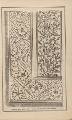 Pomegranates Cobwebs and Wild Roses Victorian era needlework pattern, Peterson's magazine 1883 Jacobean Embroidery, Vintage Embroidery, Cross Stitch Embroidery, Embroidery Patterns, Tattoo Dentelle, Japanese Drawings, Illustration Art, Illustrations, Embroidery Transfers