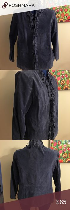 Blue suede jacket with fringe Tell me, who doesn't need a blue suede jacket with fringe? Just for the fun of it, just for the fashion of it. Jeans and boots or a midcalf skirt, any look you put together with this jacket is going to make you look fabulous. Jackets & Coats