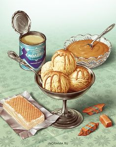 Dessert Illustration on Behance Dessert Illustration, Illustration Mode, Food Illustrations, Cute Food, Yummy Food, Etiquette Vintage, Food Sketch, Watercolor Food, Food Painting