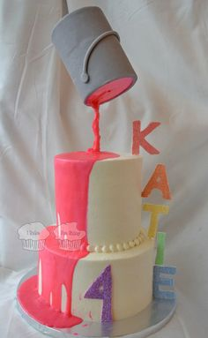 Rainbow Paint Party - by susieqhomemaker @ CakesDecor.com - cake decorating website