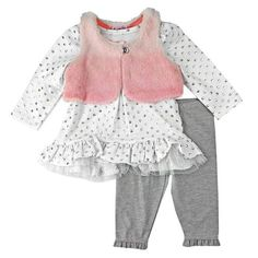 Nannette Baby Newborn Girl Fur Vest Legging Set
