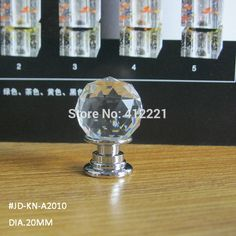 - 10 pcs/lot 20mm Transparent cut faces round ball CRYSTAL knob in silver for Kitchen Cabinet Drawer Furniture Pull