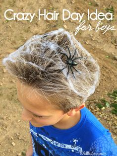 Today I'm bringing you a SUPER EASY but EYE CATCHING idea for crazy/wacky hair day: The Spider Web Wacky hair day is always a HU...