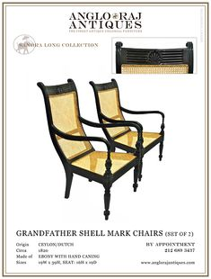 ANGLORAJ ANTIQUES | OCCASIONAL  CHAIRS GRANDFATHER EBONY 1820