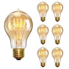 KINGSO Vintage Edison Light Bulbs Dimmable Tubular Light Bulb Nostalgic Tungsten Filament Incandescent Antique Bulb for Home and Commercial Light Fixtures – Industrial Lighting Fixtures & Decor Vintage Light Bulbs, Vintage Lighting, Dimmable Light Bulbs, 6 Pack, Amber Glass, Industrial Chic, Home Staging, Led, Light Colors