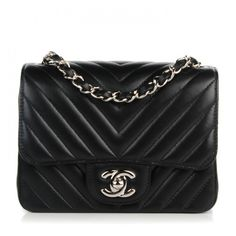 CHANEL Lambskin Chevron Quilted Mini Square Flap Black ❤ liked on Polyvore featuring bags, handbags, handbags purses, quilted handbags, chanel purse, purses crossbody and evening handbags