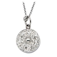 Steel Necklace with Multi Circle Pave Gem Pendant #Inox #jewelry