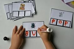 Easy to make cvc word practice by printing out or gluing a picture. Laminate cards and use dry erase markers. Kindergarten Centers, Kindergarten Literacy, Early Literacy, Classroom Activities, Literacy Stations, Literacy Centers, Work Stations, Reading Centers, Teaching Reading